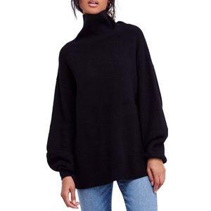 Free People Ribbed Tunic Sweater, Black, S